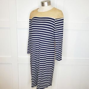 Monteau Navy Blue White Striped Sheath Dress